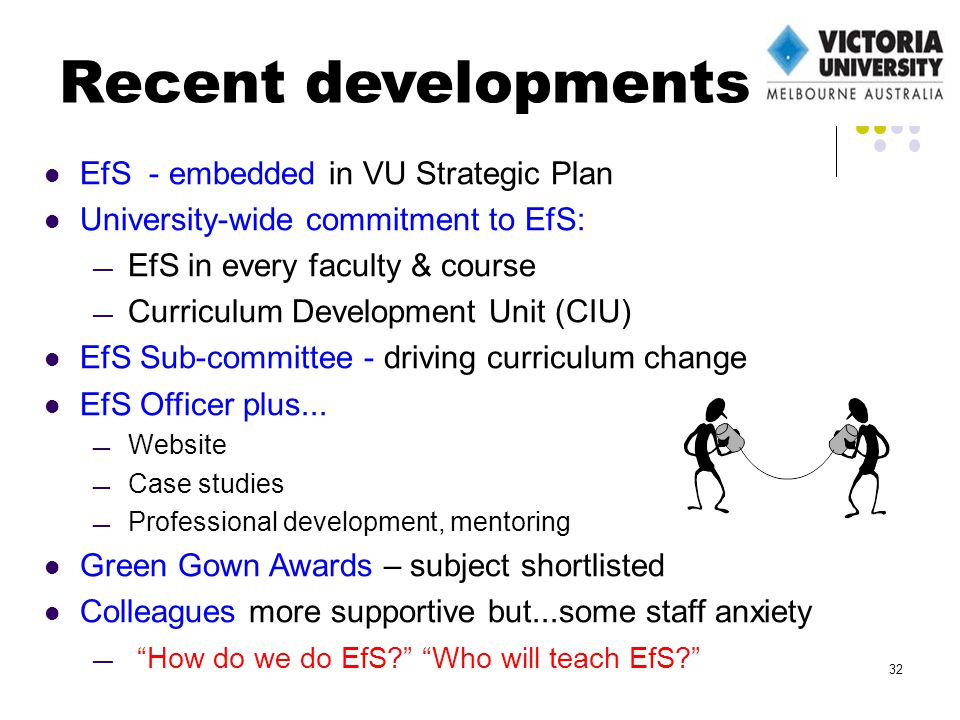 EfS - embedded in VU Strategic Plan University-wide commitment to EfS: EfS in every faculty & course Curriculum Development Unit (CIU) EfS Sub-committee - driving curriculum change EfS Officer plus...