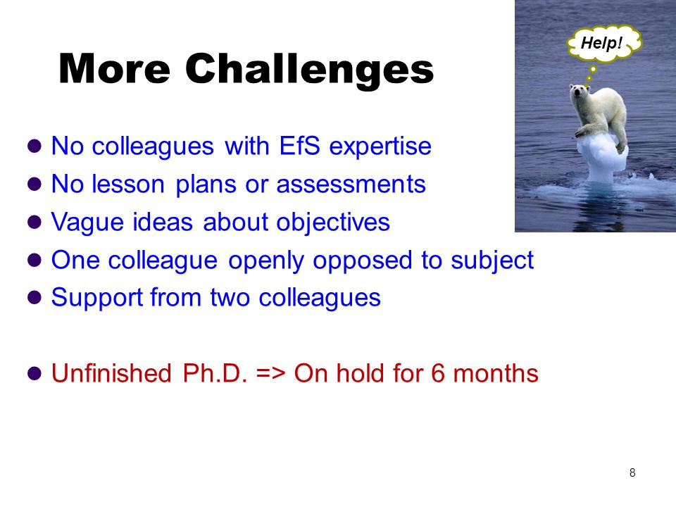 No colleagues with EfS expertise No lesson plans or assessments Vague ideas about objectives One colleague openly opposed to subject Support from two colleagues Unfinished Ph.D.