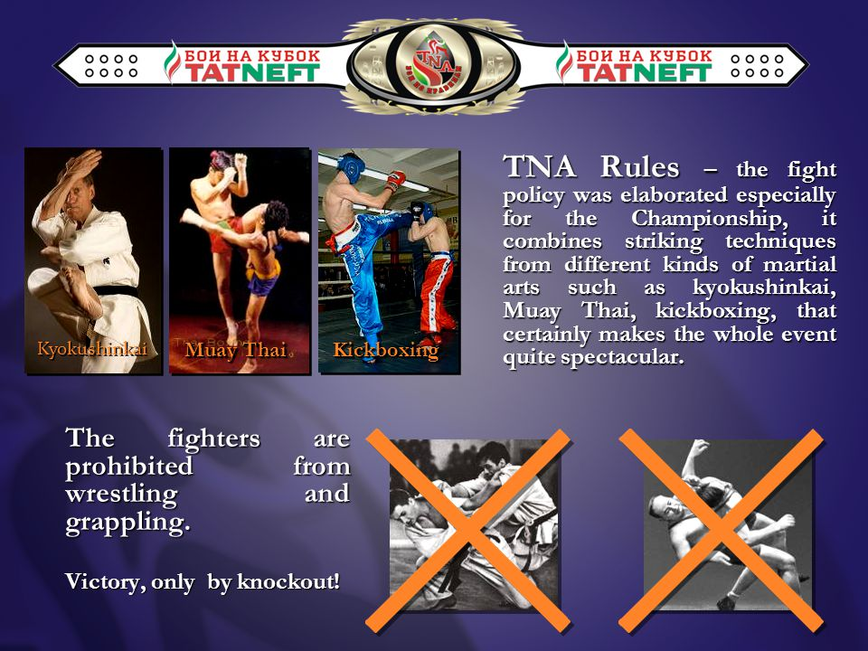 TNA Rules – the fight policy was elaborated especially for the Championship, it combines striking techniques from different kinds of martial arts such as kyokushinkai, Muay Thai, kickboxing, that certainly makes the whole event quite spectacular.
