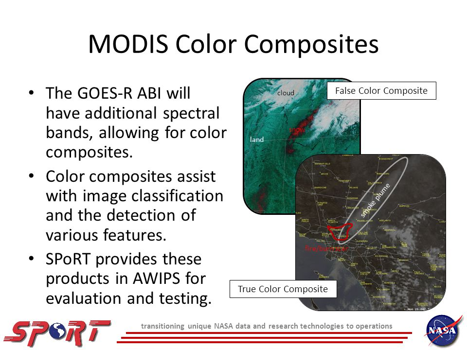 MODIS Color Composites The GOES-R ABI will have additional spectral bands, allowing for color composites.