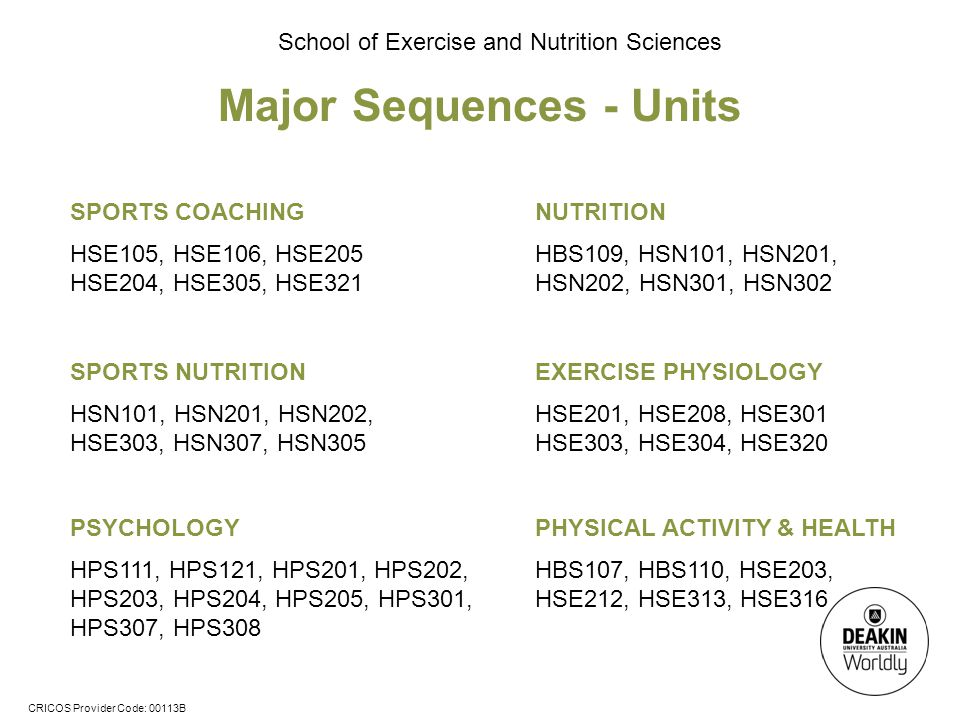 CRICOS Provider Code: 00113B School of Exercise and Nutrition Sciences Major Sequences - Units PSYCHOLOGY HPS111, HPS121, HPS201, HPS202, HPS203, HPS204, HPS205, HPS301, HPS307, HPS308 NUTRITION HBS109, HSN101, HSN201, HSN202, HSN301, HSN302 SPORTS NUTRITION HSN101, HSN201, HSN202, HSE303, HSN307, HSN305 EXERCISE PHYSIOLOGY HSE201, HSE208, HSE301 HSE303, HSE304, HSE320 PHYSICAL ACTIVITY & HEALTH HBS107, HBS110, HSE203, HSE212, HSE313, HSE316 SPORTS COACHING HSE105, HSE106, HSE205 HSE204, HSE305, HSE321