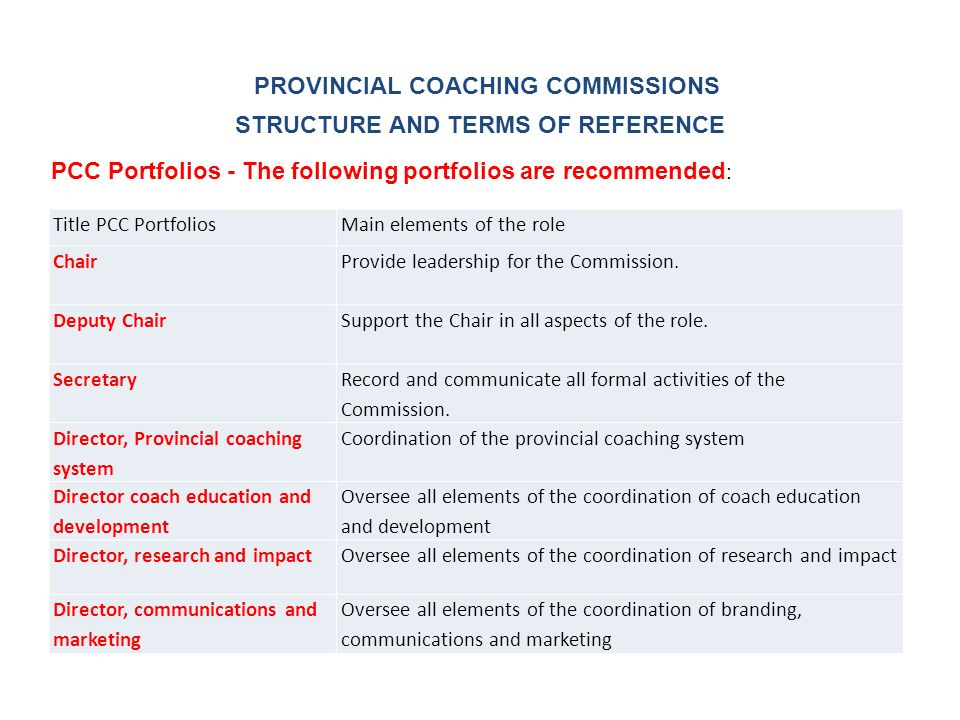 Title PCC PortfoliosMain elements of the role Chair Provide leadership for the Commission.