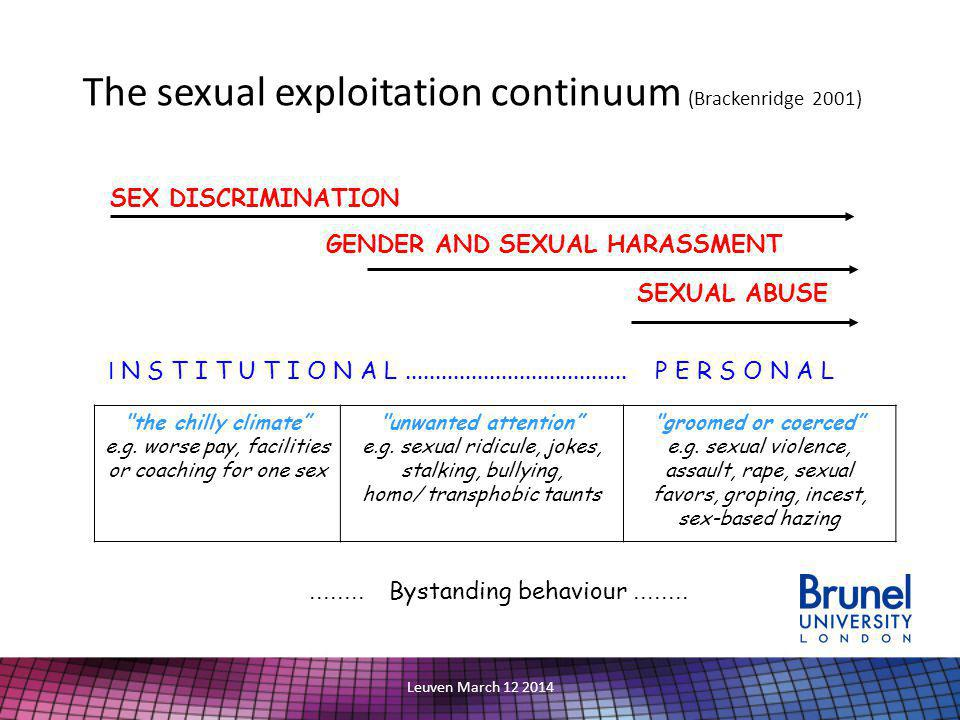 Leuven March 12 2014 The sexual exploitation continuum (Brackenridge 2001) SEX DISCRIMINATION GENDER AND SEXUAL HARASSMENT SEXUAL ABUSE I N S T I T U T I O N A L.....................................