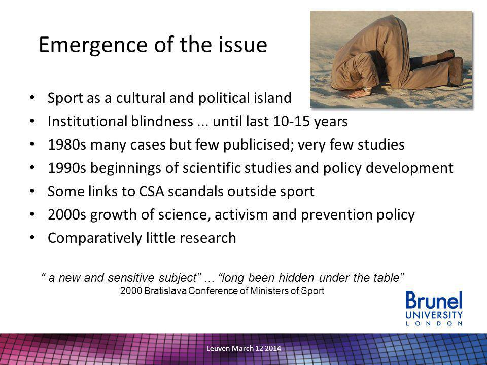 Sport as a cultural and political island Institutional blindness...