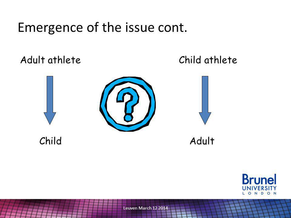 Leuven March 12 2014 Emergence of the issue cont. Adult athleteChild athlete ChildAdult