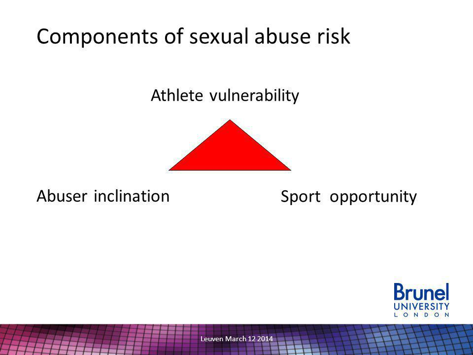 Leuven March 12 2014 Components of sexual abuse risk Athlete vulnerability Abuser inclination Sport opportunity