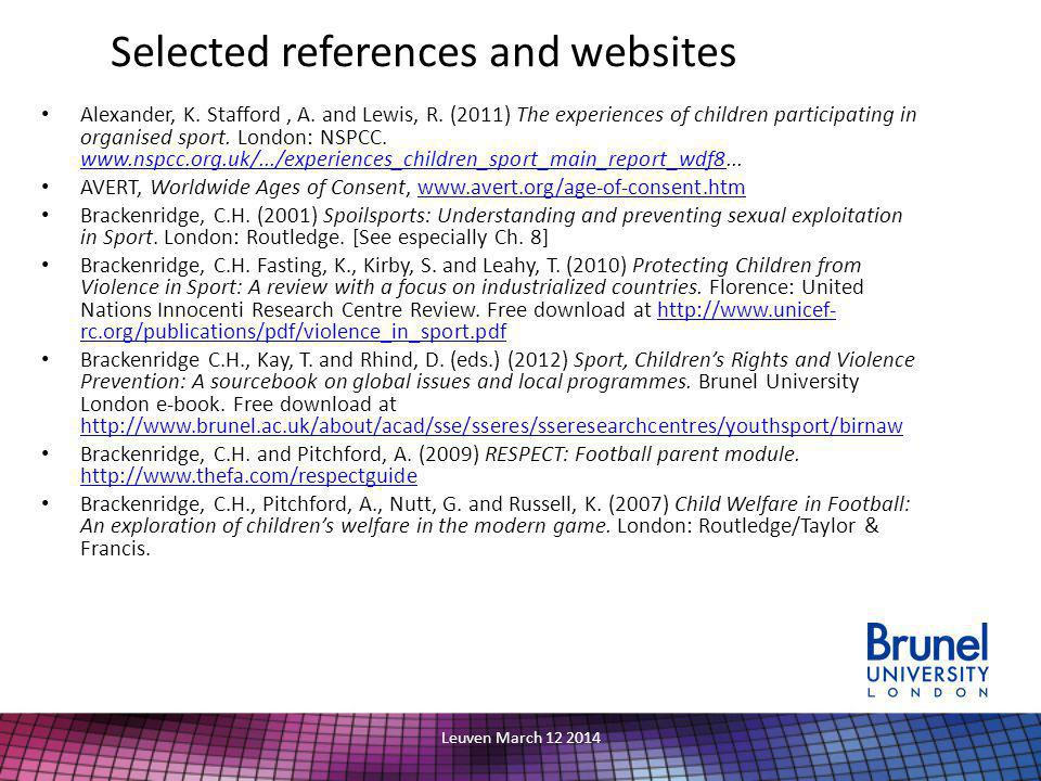 Selected references and websites Alexander, K. Stafford, A.