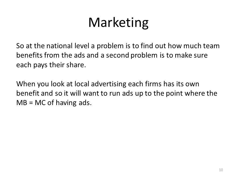 Marketing 10 So at the national level a problem is to find out how much team benefits from the ads and a second problem is to make sure each pays their share.
