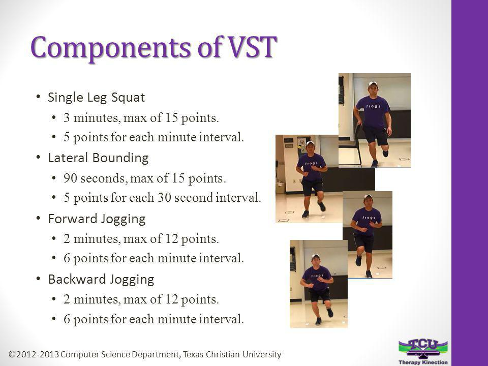 Components of VST Single Leg Squat 3 minutes, max of 15 points.