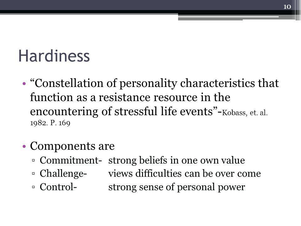 Hardiness Constellation of personality characteristics that function as a resistance resource in the encountering of stressful life events- Kobass, et.