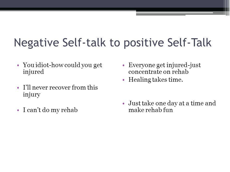 Negative Self-talk to positive Self-Talk You idiot-how could you get injured Ill never recover from this injury I cant do my rehab Everyone get injured-just concentrate on rehab Healing takes time.