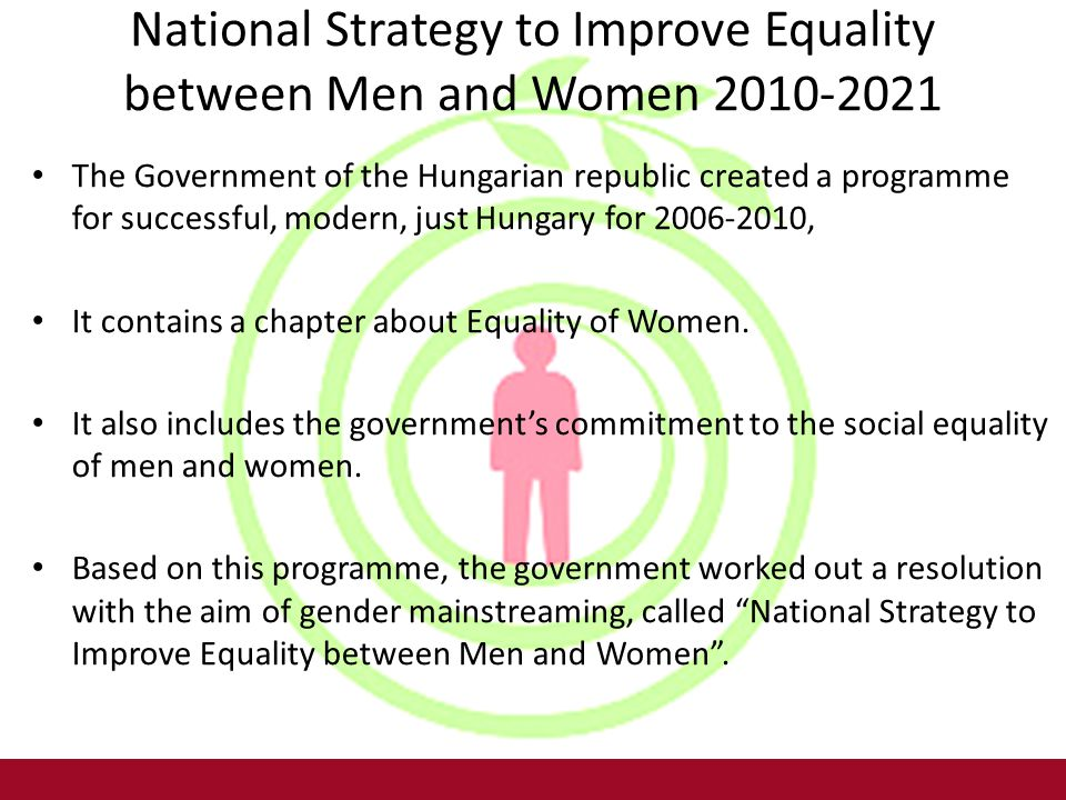 National Strategy to Improve Equality between Men and Women 2010-2021 The Government of the Hungarian republic created a programme for successful, modern, just Hungary for 2006-2010, It contains a chapter about Equality of Women.