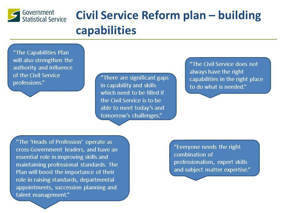 Civil Service Reform plan – building capabilities The Civil Service does not always have the right capabilities in the right place to do what is needed.