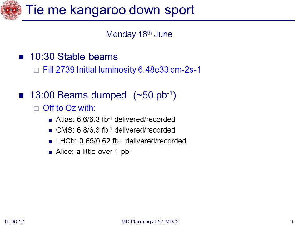 Tie me kangaroo down sport 10:30 Stable beams Fill 2739 Initial luminosity 6.48e33 cm-2s-1 13:00 Beams dumped (~50 pb -1 ) Off to Oz with: Atlas: 6.6/6.3 fb -1 delivered/recorded CMS: 6.8/6.3 fb -1 delivered/recorded LHCb: 0.65/0.62 fb -1 delivered/recorded Alice: a little over 1 pb -1 MD Planning 2012, MD#2 19-06-12 Monday 18 th June 1