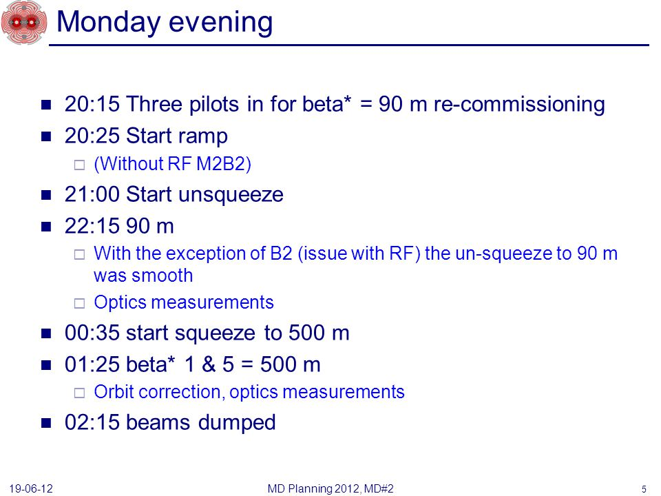 Monday evening 20:15 Three pilots in for beta* = 90 m re-commissioning 20:25 Start ramp (Without RF M2B2) 21:00 Start unsqueeze 22:15 90 m With the exception of B2 (issue with RF) the un-squeeze to 90 m was smooth Optics measurements 00:35 start squeeze to 500 m 01:25 beta* 1 & 5 = 500 m Orbit correction, optics measurements 02:15 beams dumped MD Planning 2012, MD#2 19-06-12 5