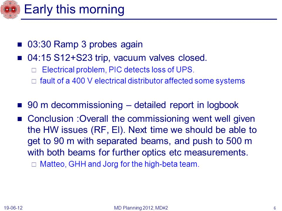 Early this morning 03:30 Ramp 3 probes again 04:15 S12+S23 trip, vacuum valves closed.