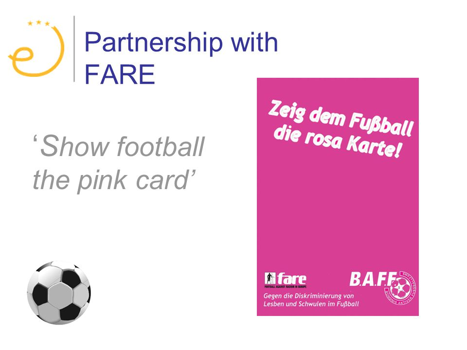 Partnership with FARE S how football the pink card