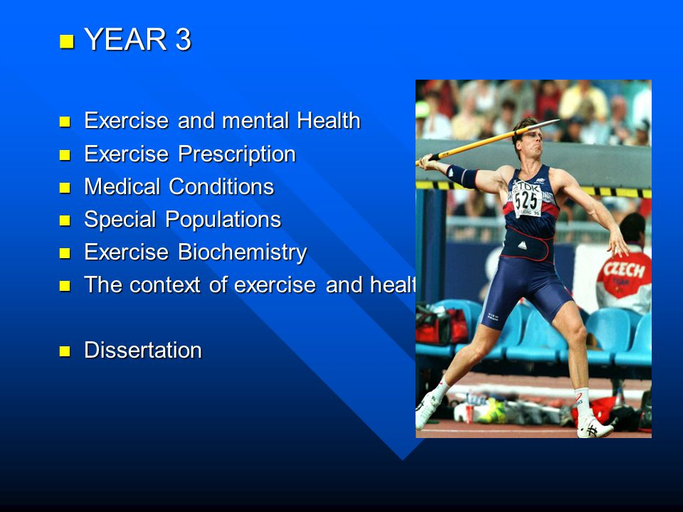 YEAR 3 YEAR 3 Exercise and mental Health Exercise and mental Health Exercise Prescription Exercise Prescription Medical Conditions Medical Conditions Special Populations Special Populations Exercise Biochemistry Exercise Biochemistry The context of exercise and health The context of exercise and health Dissertation Dissertation