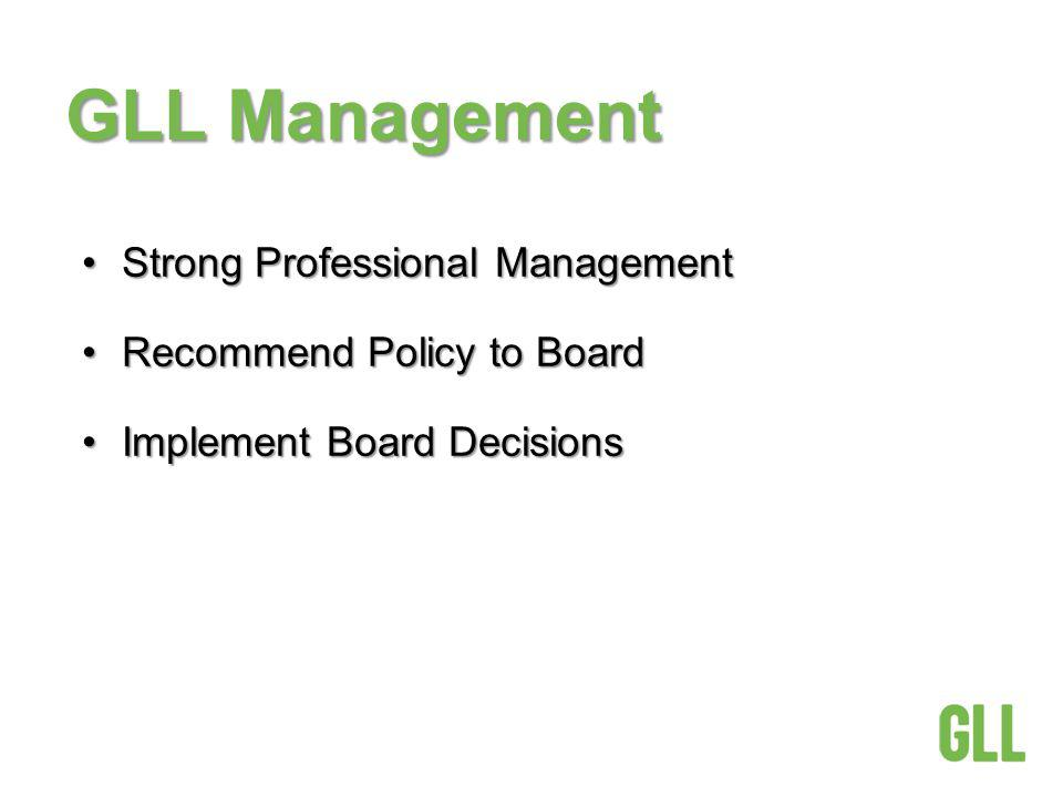 GLL Management Strong Professional ManagementStrong Professional Management Recommend Policy to BoardRecommend Policy to Board Implement Board DecisionsImplement Board Decisions