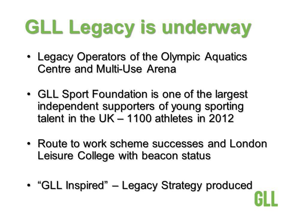 GLL Legacy is underway Legacy Operators of the Olympic Aquatics Centre and Multi-Use ArenaLegacy Operators of the Olympic Aquatics Centre and Multi-Use Arena GLL Sport Foundation is one of the largest independent supporters of young sporting talent in the UK – 1100 athletes in 2012GLL Sport Foundation is one of the largest independent supporters of young sporting talent in the UK – 1100 athletes in 2012 Route to work scheme successes and London Leisure College with beacon statusRoute to work scheme successes and London Leisure College with beacon status GLL Inspired – Legacy Strategy producedGLL Inspired – Legacy Strategy produced