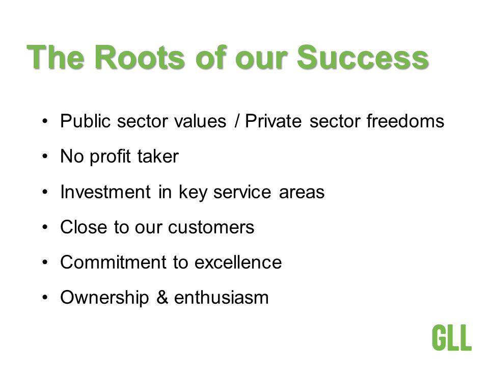 The Roots of our Success Public sector values / Private sector freedoms No profit taker Investment in key service areas Close to our customers Commitment to excellence Ownership & enthusiasm