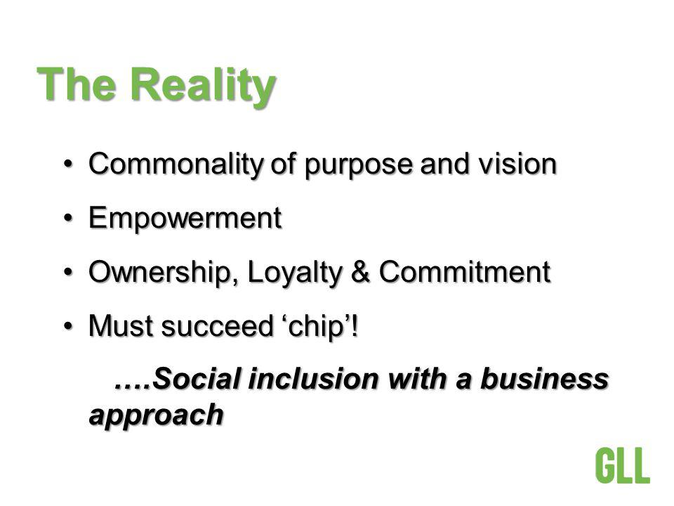 The Reality Commonality of purpose and visionCommonality of purpose and vision EmpowermentEmpowerment Ownership, Loyalty & CommitmentOwnership, Loyalty & Commitment Must succeed chip!Must succeed chip.