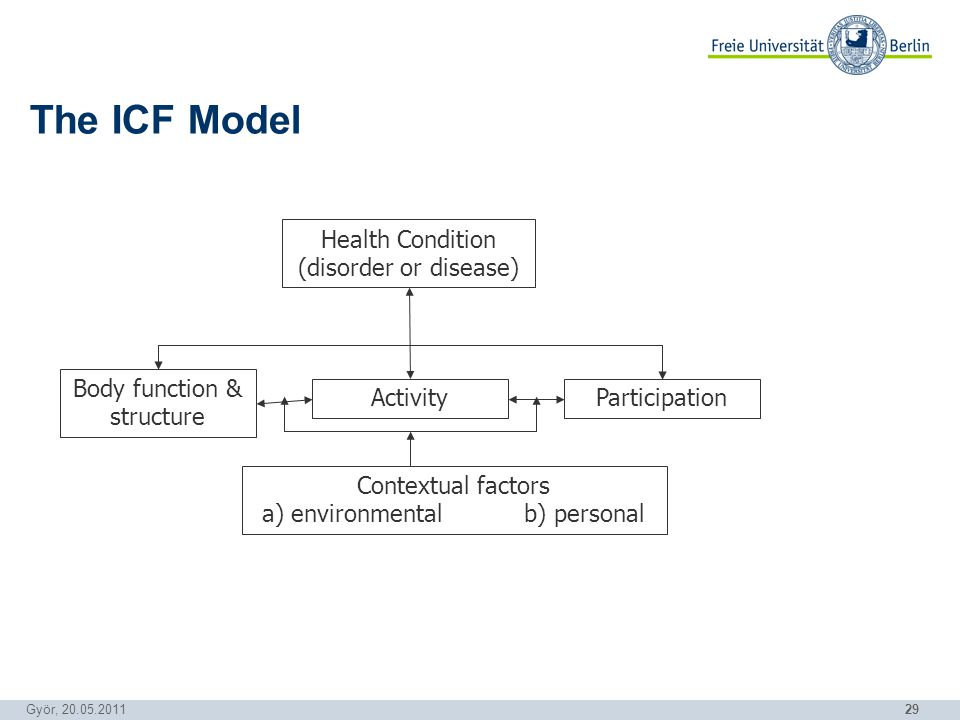 29 Györ, 20.05.2011 The ICF Model Health Condition (disorder or disease) Contextual factors a) environmental b) personal Body function & structure ParticipationActivity