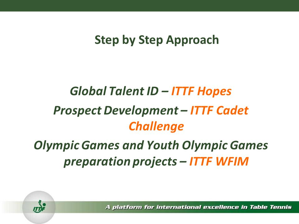 Global Talent ID – ITTF Hopes Prospect Development – ITTF Cadet Challenge Olympic Games and Youth Olympic Games preparation projects – ITTF WFIM Step by Step Approach