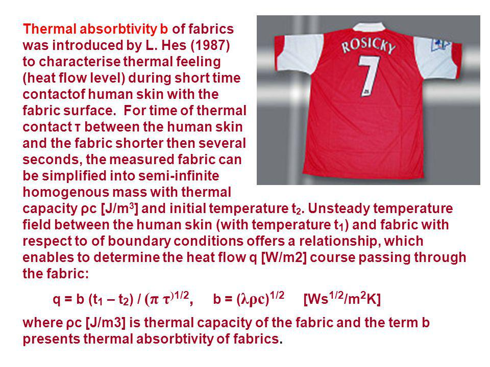 Thermal absorbtivity b of fabrics was introduced by L.