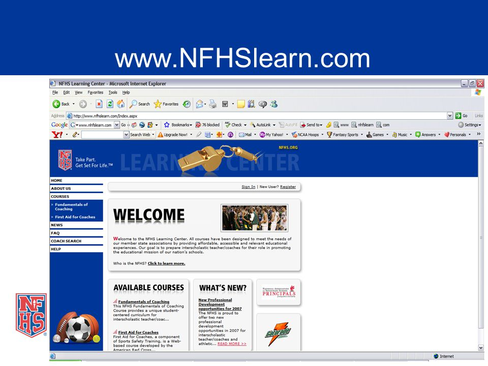 Nfhs fundamentals of coaching presentation ppt video online download 4 this is the home page for the nfhs learning center which houses our coach fandeluxe Choice Image