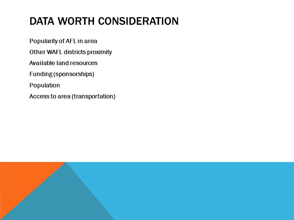 DATA WORTH CONSIDERATION Popularity of AFL in area Other WAFL districts proximity Available land resources Funding (sponsorships) Population Access to area (transportation)