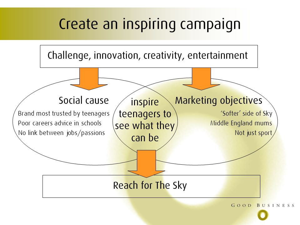 Create an inspiring campaign Challenge, innovation, creativity, entertainment Social causeMarketing objectives inspire teenagers to see what they can be Reach for The Sky Brand most trusted by teenagers Poor careers advice in schools No link between jobs/passions Softer side of Sky Middle England mums Not just sport