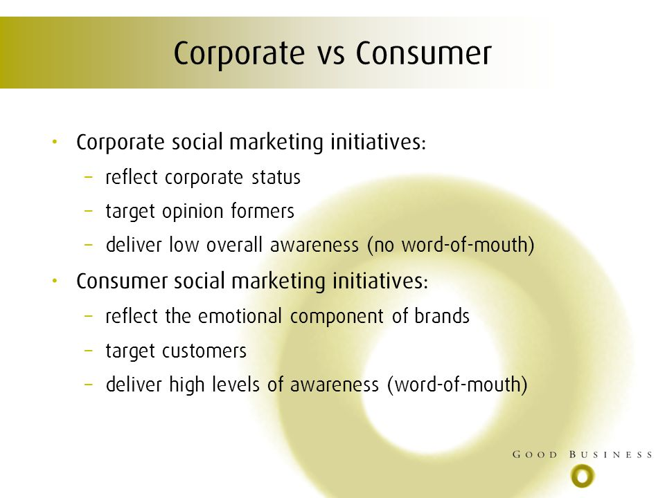 Corporate vs Consumer Corporate social marketing initiatives: – reflect corporate status – target opinion formers – deliver low overall awareness (no word-of-mouth) Consumer social marketing initiatives: – reflect the emotional component of brands – target customers – deliver high levels of awareness (word-of-mouth)