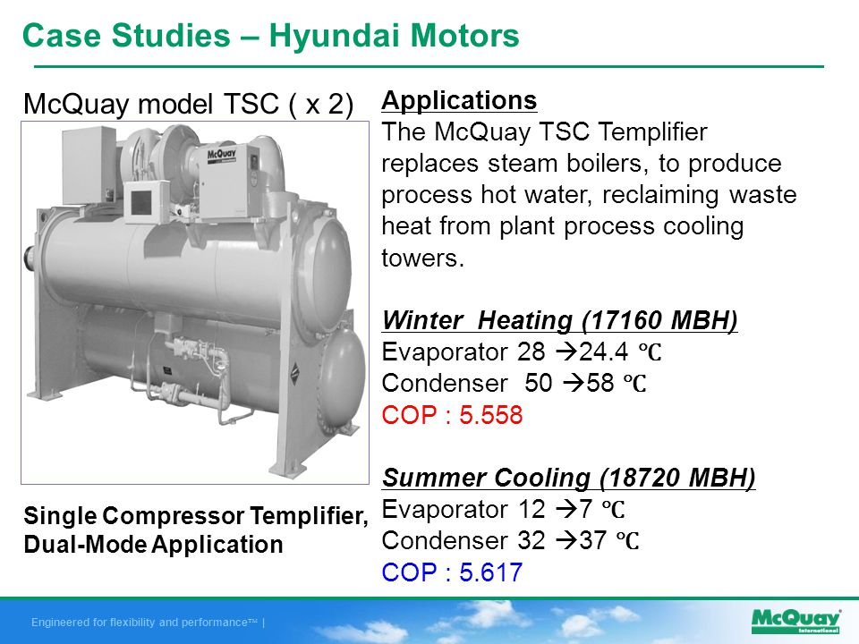 Engineered for flexibility and performance | Applications The McQuay TSC Templifier replaces steam boilers, to produce process hot water, reclaiming waste heat from plant process cooling towers.