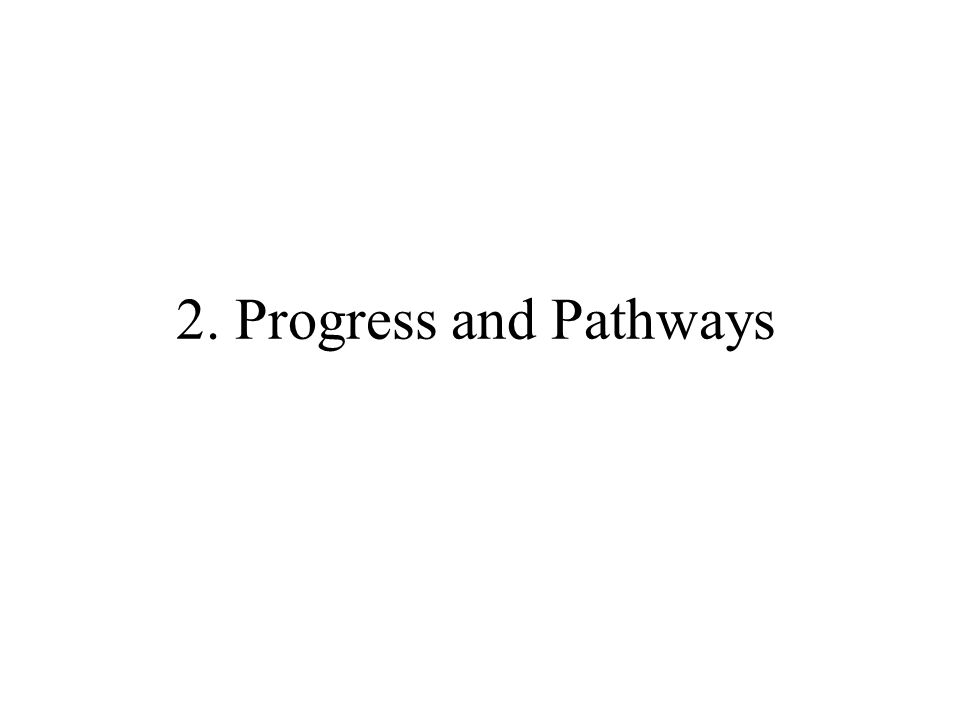 2. Progress and Pathways