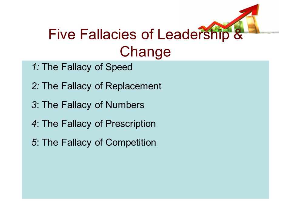 1: The Fallacy of Speed 2: The Fallacy of Replacement 3: The Fallacy of Numbers 4: The Fallacy of Prescription 5: The Fallacy of Competition Five Fallacies of Leadership & Change