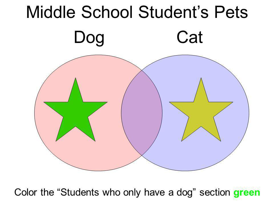 Middle School Students Pets DogCat Color the Students who only have a dog section green