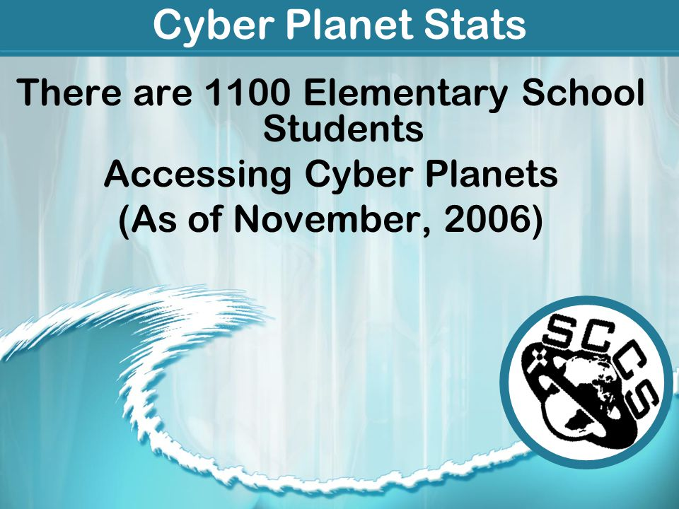 Cyber Planet Stats There are 1100 Elementary School Students Accessing Cyber Planets (As of November, 2006)