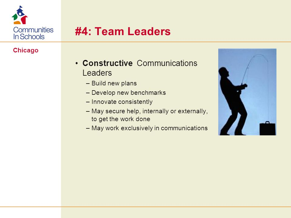 Chicago #4: Team Leaders Constructive Communications Leaders –Build new plans –Develop new benchmarks –Innovate consistently –May secure help, internally or externally, to get the work done –May work exclusively in communications