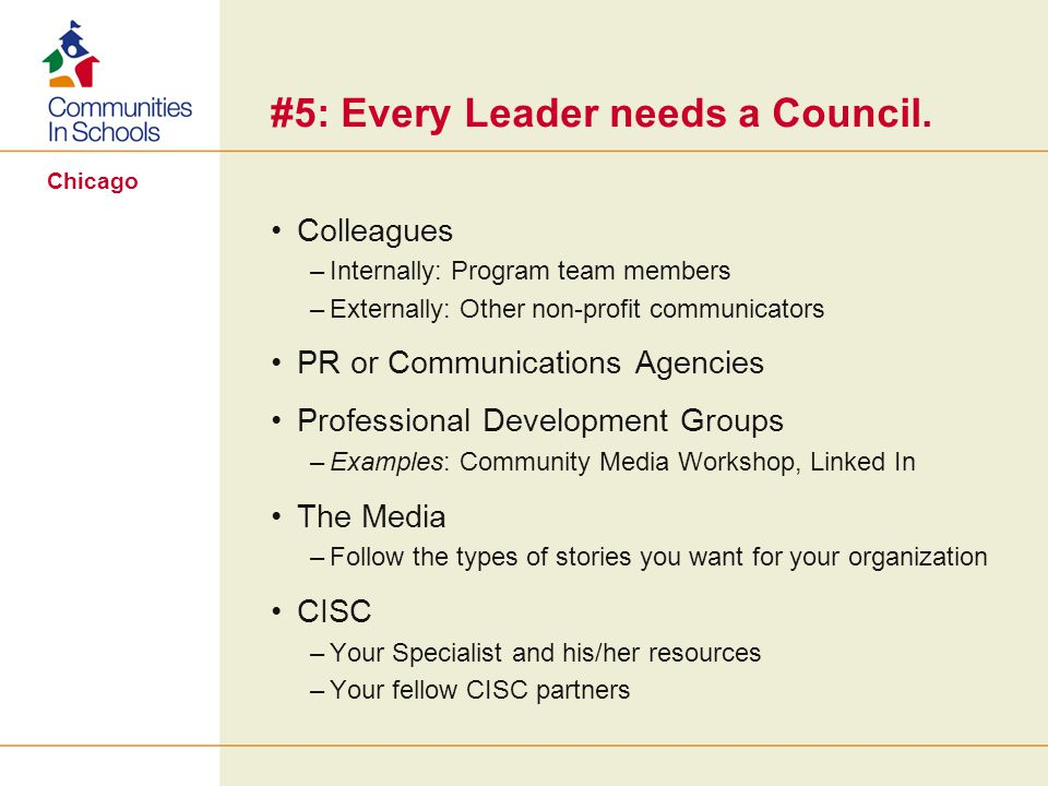 Chicago #5: Every Leader needs a Council.
