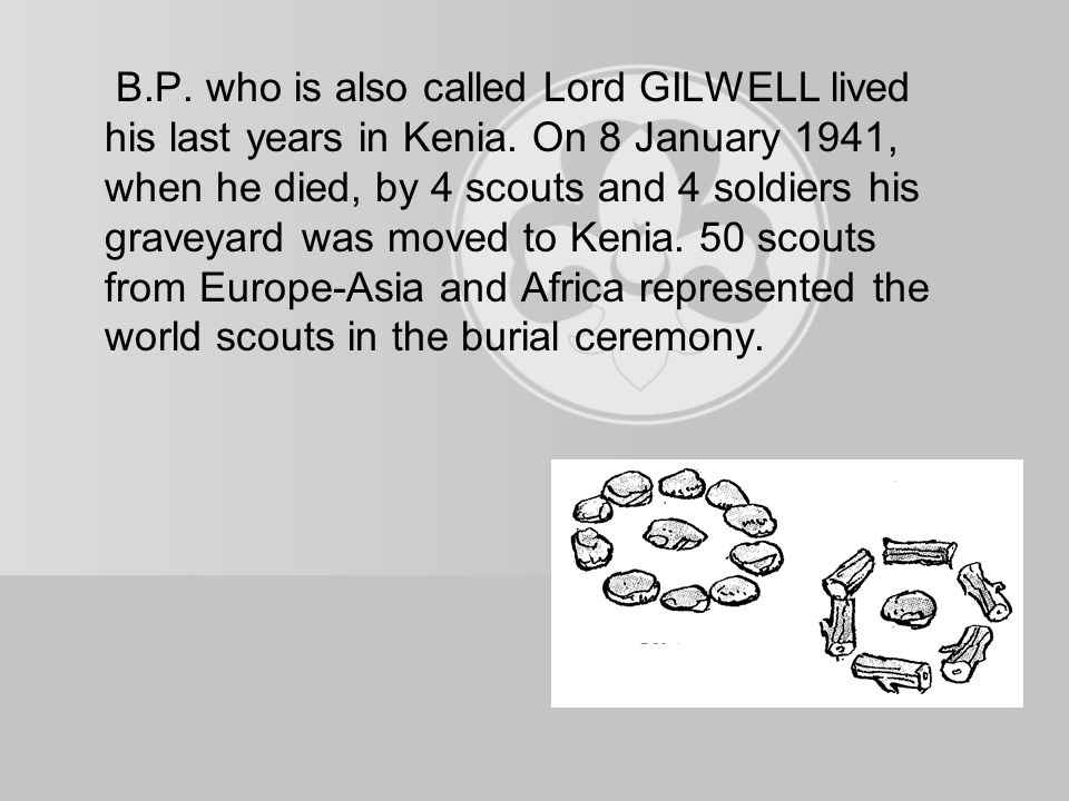 B.P. who is also called Lord GILWELL lived his last years in Kenia.