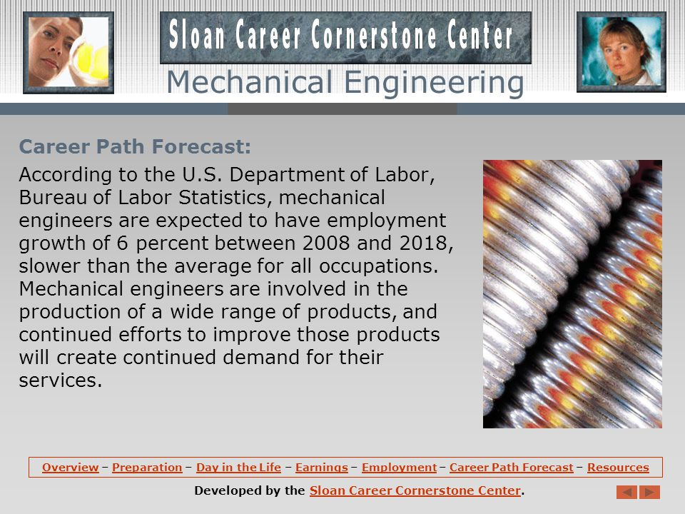 Employment (continued): According to an ASME Career Path Survey, about half of mechanical engineers were employed in the original equipment industries.