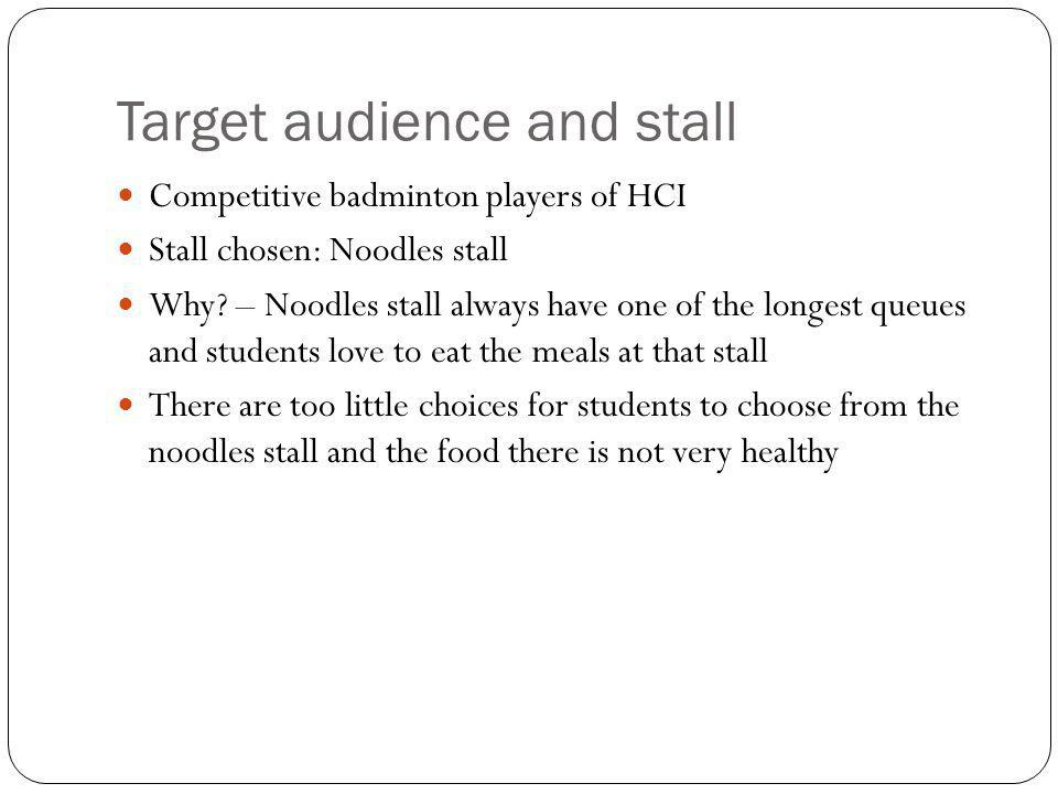 Target audience and stall Competitive badminton players of HCI Stall chosen: Noodles stall Why.