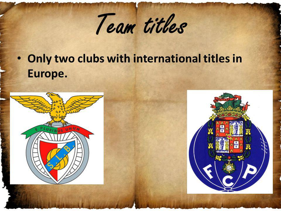 Team titles Only two clubs with international titles in Europe.