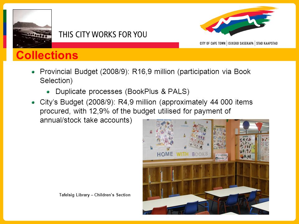 Collections Provincial Budget (2008/9): R16,9 million (participation via Book Selection) Duplicate processes (BookPlus & PALS) Citys Budget (2008/9): R4,9 million (approximately 44 000 items procured, with 12,9% of the budget utilised for payment of annual/stock take accounts) Tafelsig Library – Childrens Section