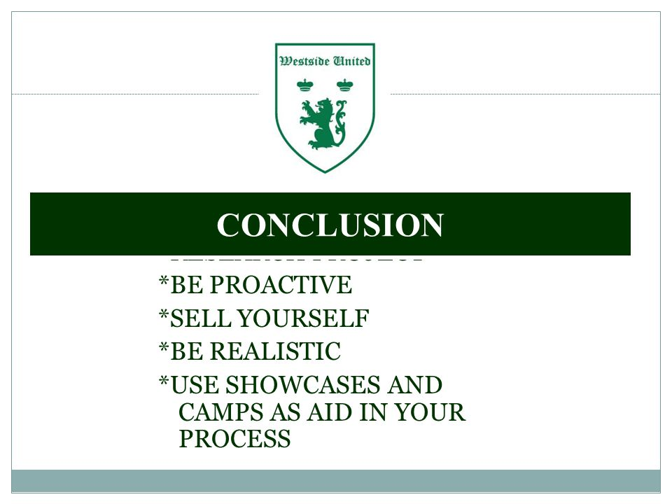 *RESEARCH PROJECT *BE PROACTIVE *SELL YOURSELF *BE REALISTIC *USE SHOWCASES AND CAMPS AS AID IN YOUR PROCESS CONCLUSION