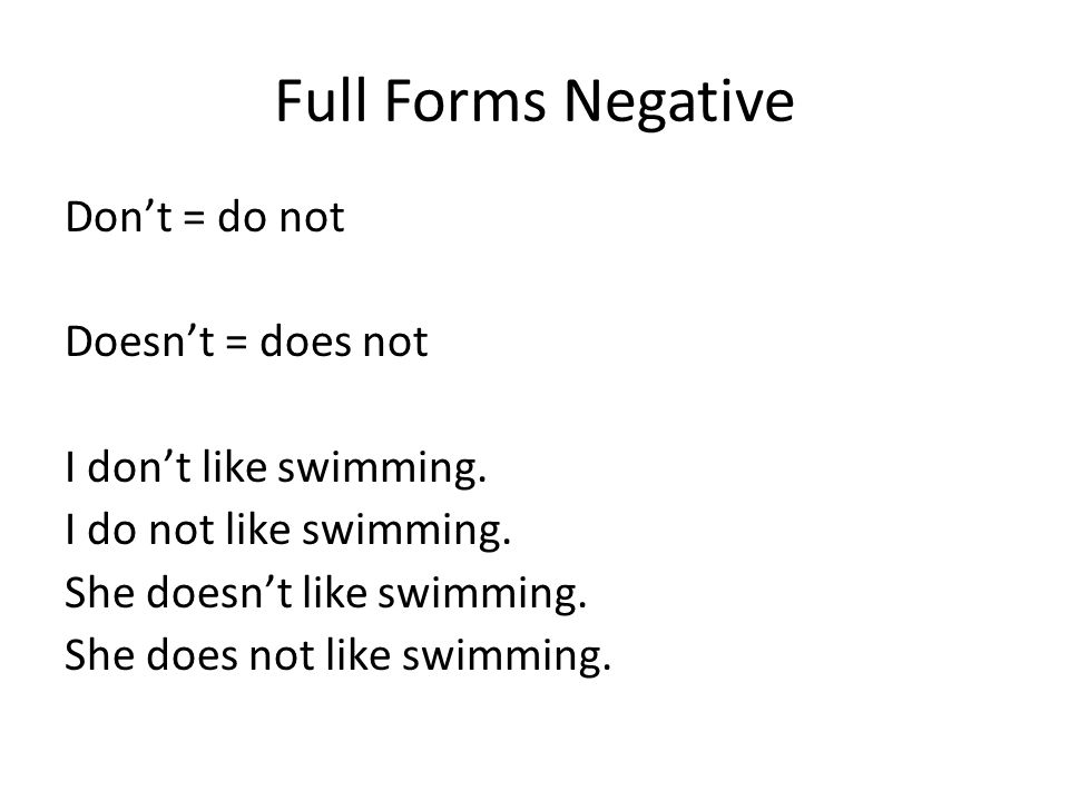 Full Forms Negative Dont = do not Doesnt = does not I dont like swimming.