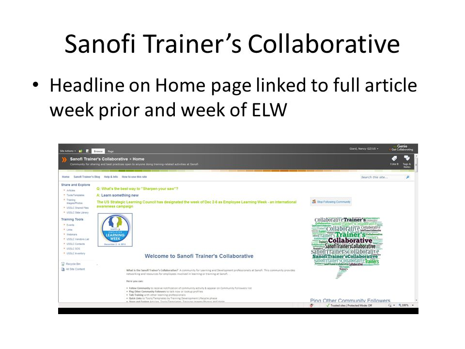 Sanofi Trainers Collaborative Headline on Home page linked to full article week prior and week of ELW