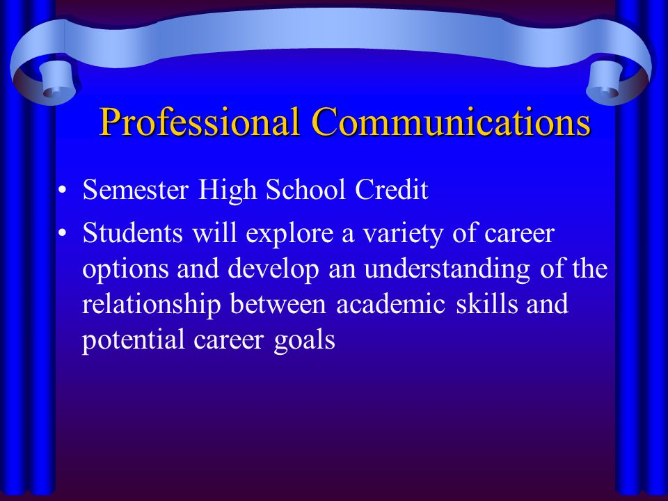 Professional Communications Semester High School Credit Students will explore a variety of career options and develop an understanding of the relationship between academic skills and potential career goals