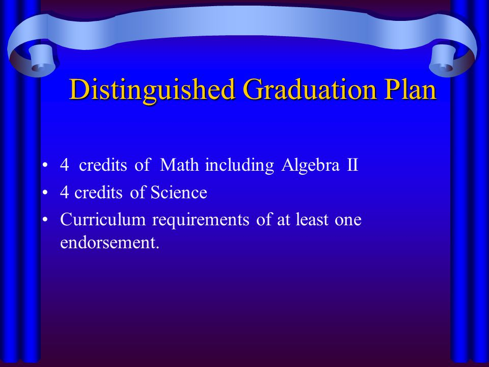 Distinguished Graduation Plan 4 credits of Math including Algebra II 4 credits of Science Curriculum requirements of at least one endorsement.
